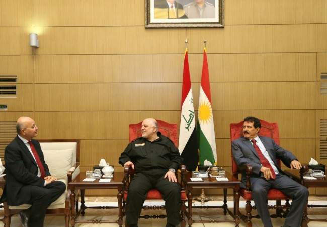 العبادي يبحث مع قيادات الاتحاد الكردستاني الاوضاع الامنية والسياسية والاقتصادية في البلاد