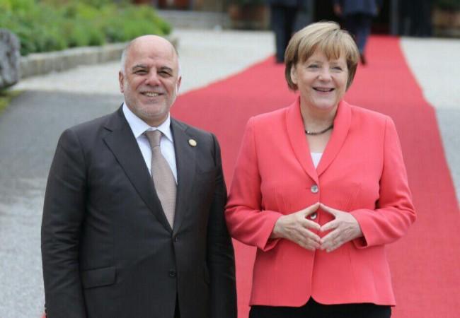 المستشارة الالمانية ميركل تبحث مع العبادي سبل دعم العراق في حربه ضد داعش
